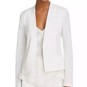 Theory collarless open front white blazer
